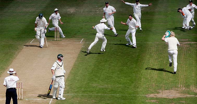 England celebrating the final wicket in 2005 Ashes