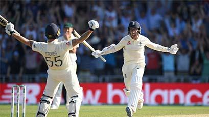Ben Stokes celebrating winning at Headingley